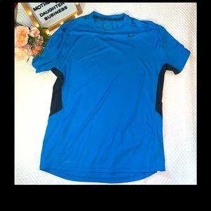 Nike Pro Combat Dri-Fit Blue Fitted T-Shirt